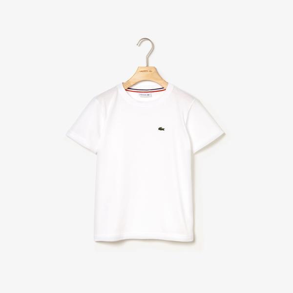 Lacoste Chłopięcy bawełniany T-Shirt z dżerseju z okrągłym dekoltem