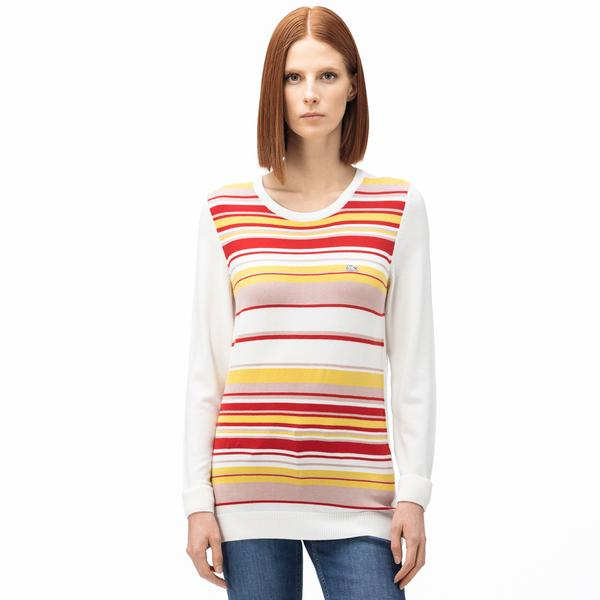 Lacoste Women's Round Neck Striped Tricot Sweater