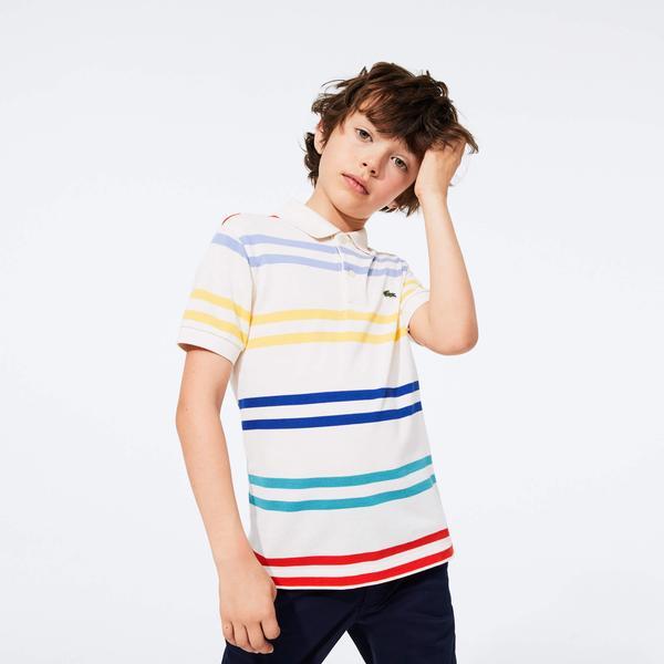 Lacoste Chłopięca Koszulka Polo W Kolorowe Paski