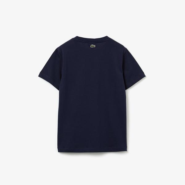 Lacoste T-Shirt Dziecięcy Z Okrągłym Wycięciem Pod Szyją