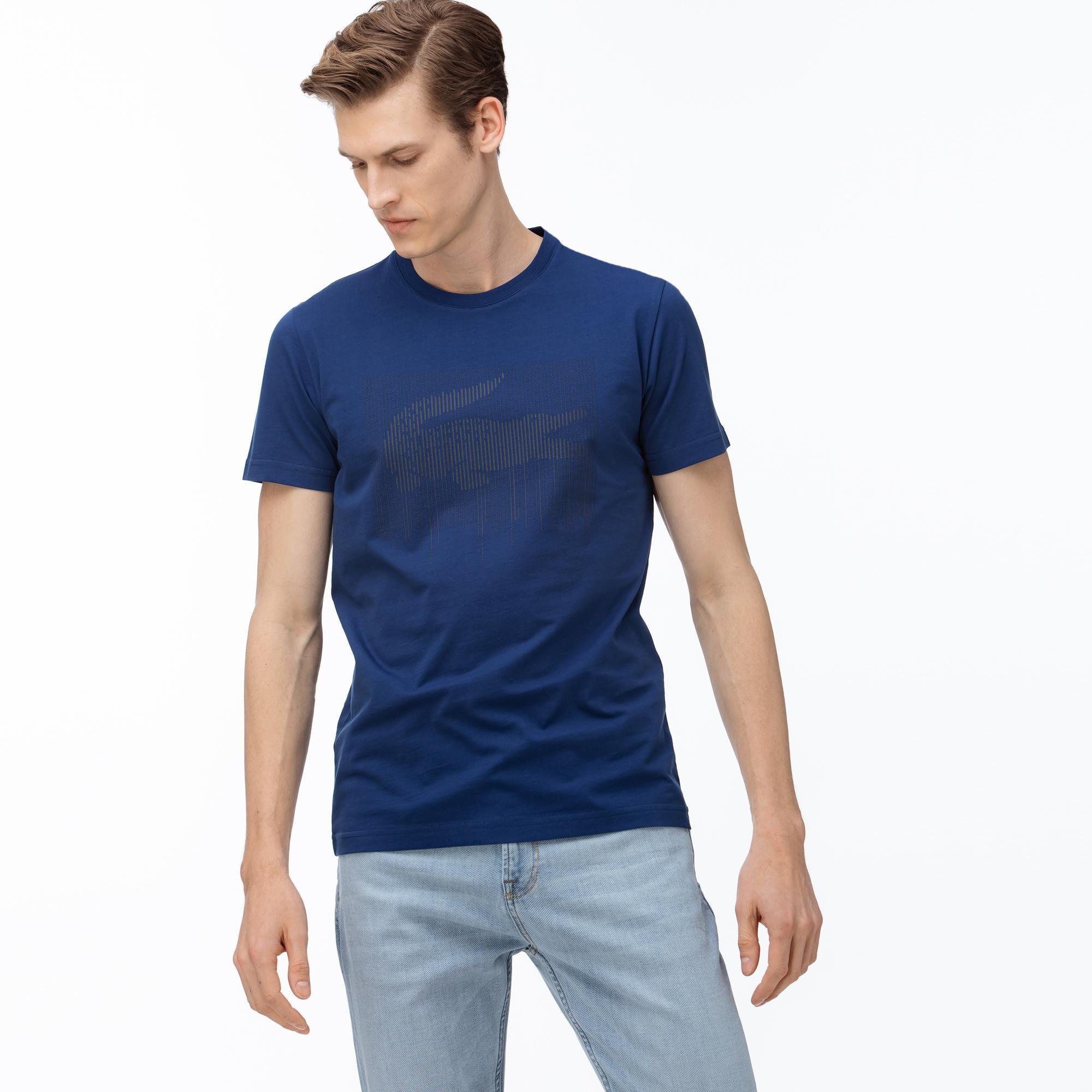 Lacoste Men/'s Graphic T-Shirt Blue