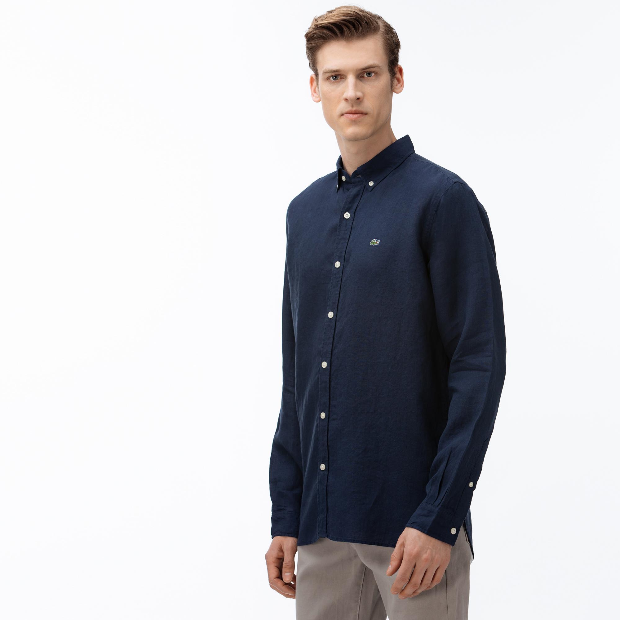 Lacoste Męska koszula lniana Regular Fit
