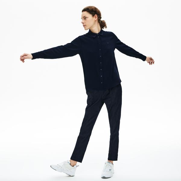 Lacoste Damska Luźna Elegancka Koszula Z Lejącego Materiału