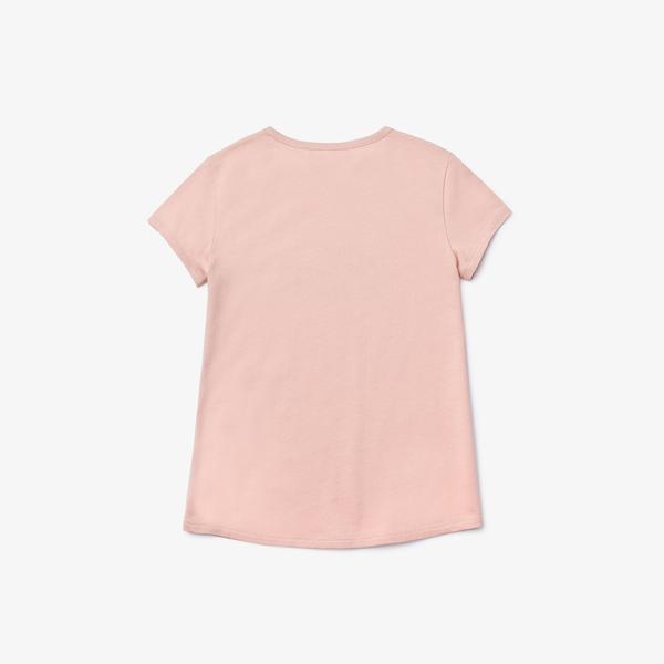 Lacoste Dziewczęcy Bawełniany T-Shirt Z Nadrukiem Z Okrągłym Dekoltem