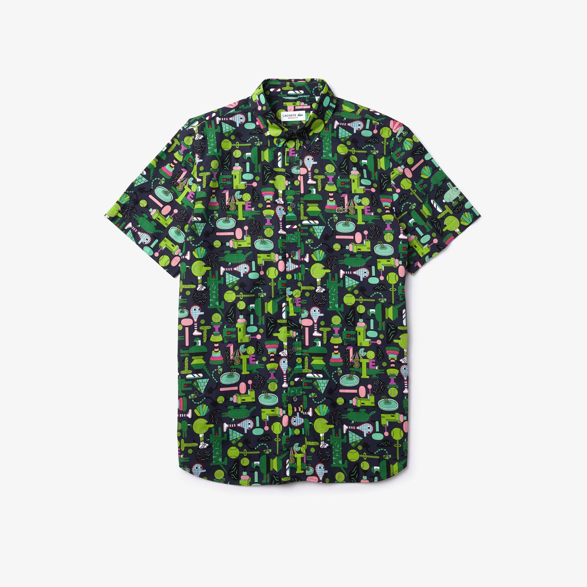 Lacoste Koszula x Jeremyville Unisex Z Krótkimi Rękawami, Kołnierzyk Zapinany Na Guziki