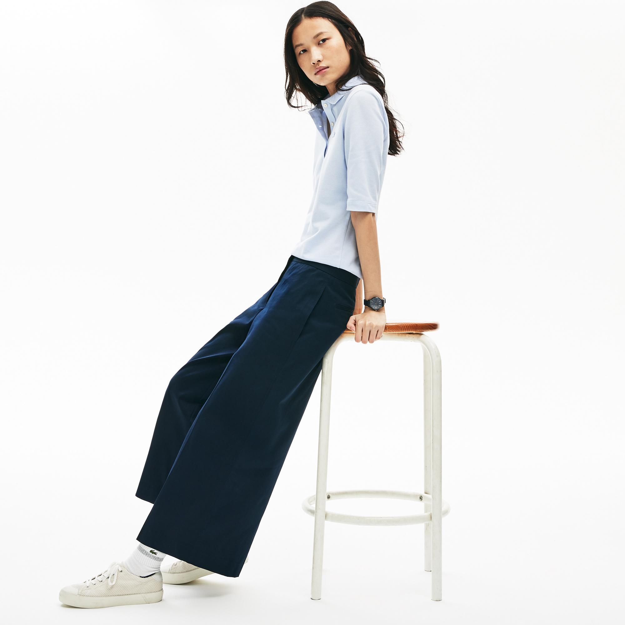 Lacoste Damskie Szerokie Spodnie Bawełniane Wysokiej Jakości