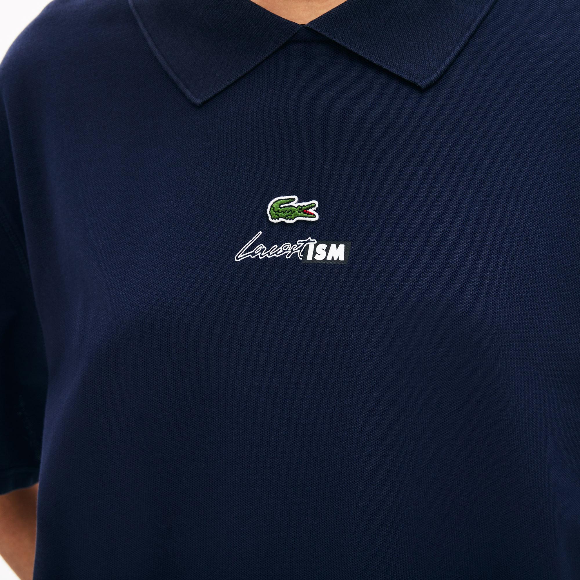 Lacoste LIVE Damska Koszulka Polo O Luźnym Kroju Z Elastycznej Piki Z Kołnierzykiem Na Zamek Błyskawiczny
