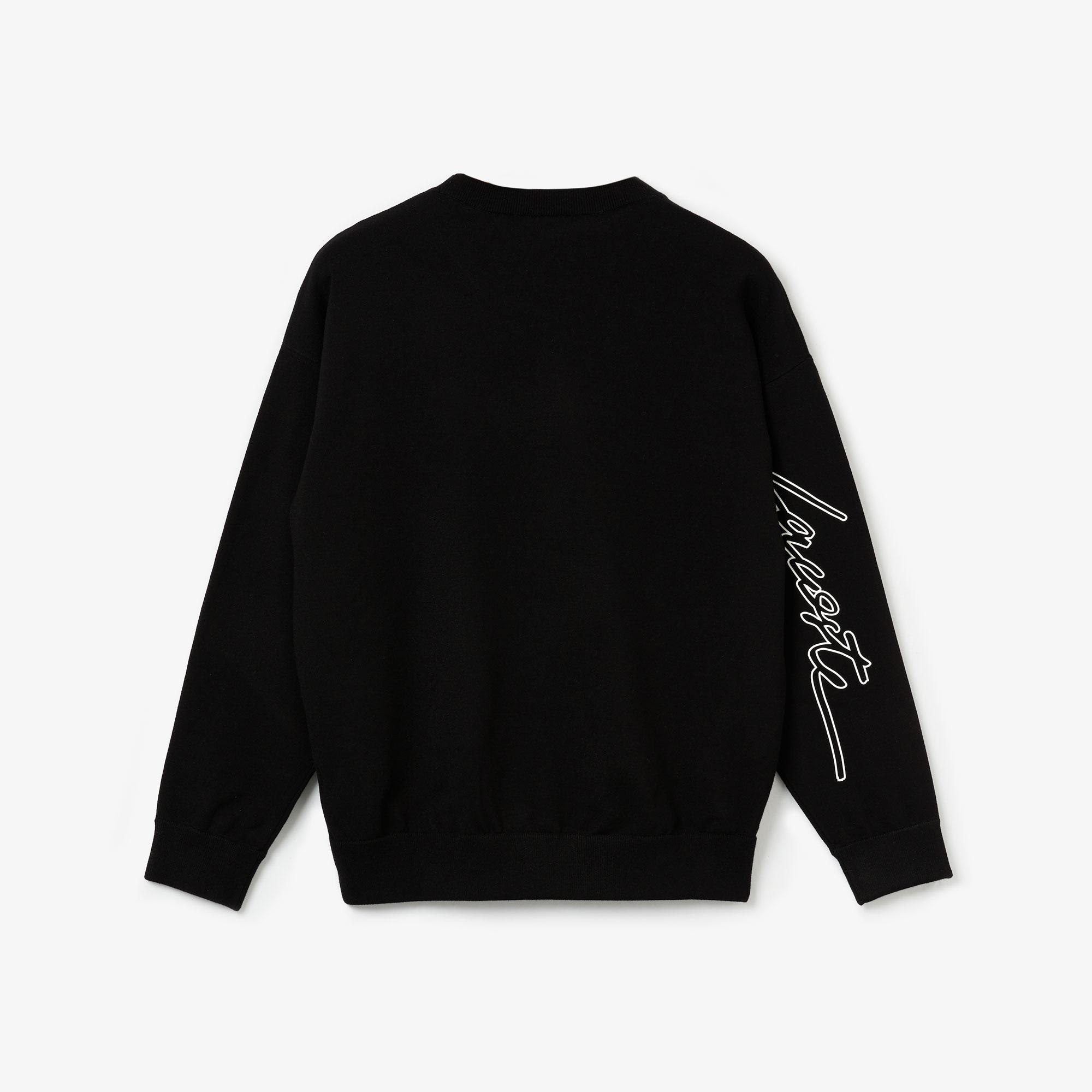 Lacoste LIVE Damski Sweter Bawełniany Z Napisem 3D Z Okrągłym Dekoltem