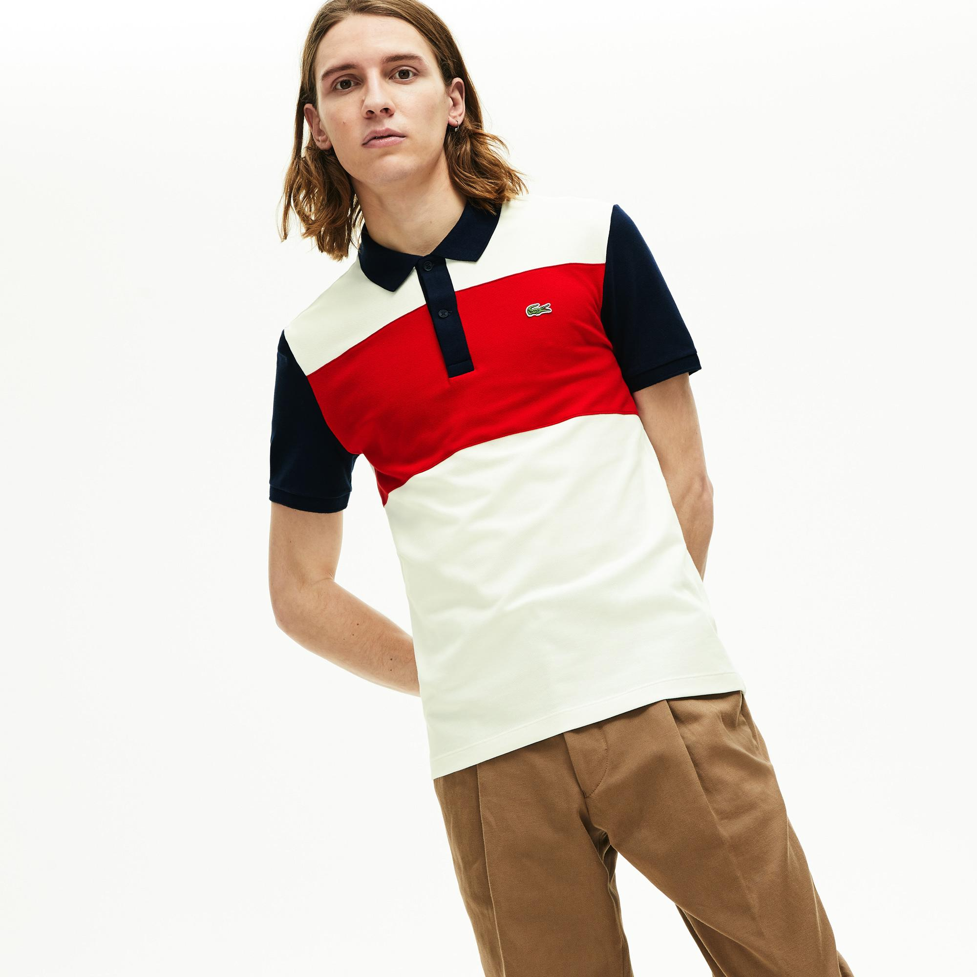 Lacoste Męska Elastyczna Koszulka Polo W Bloki Kolorystyczne