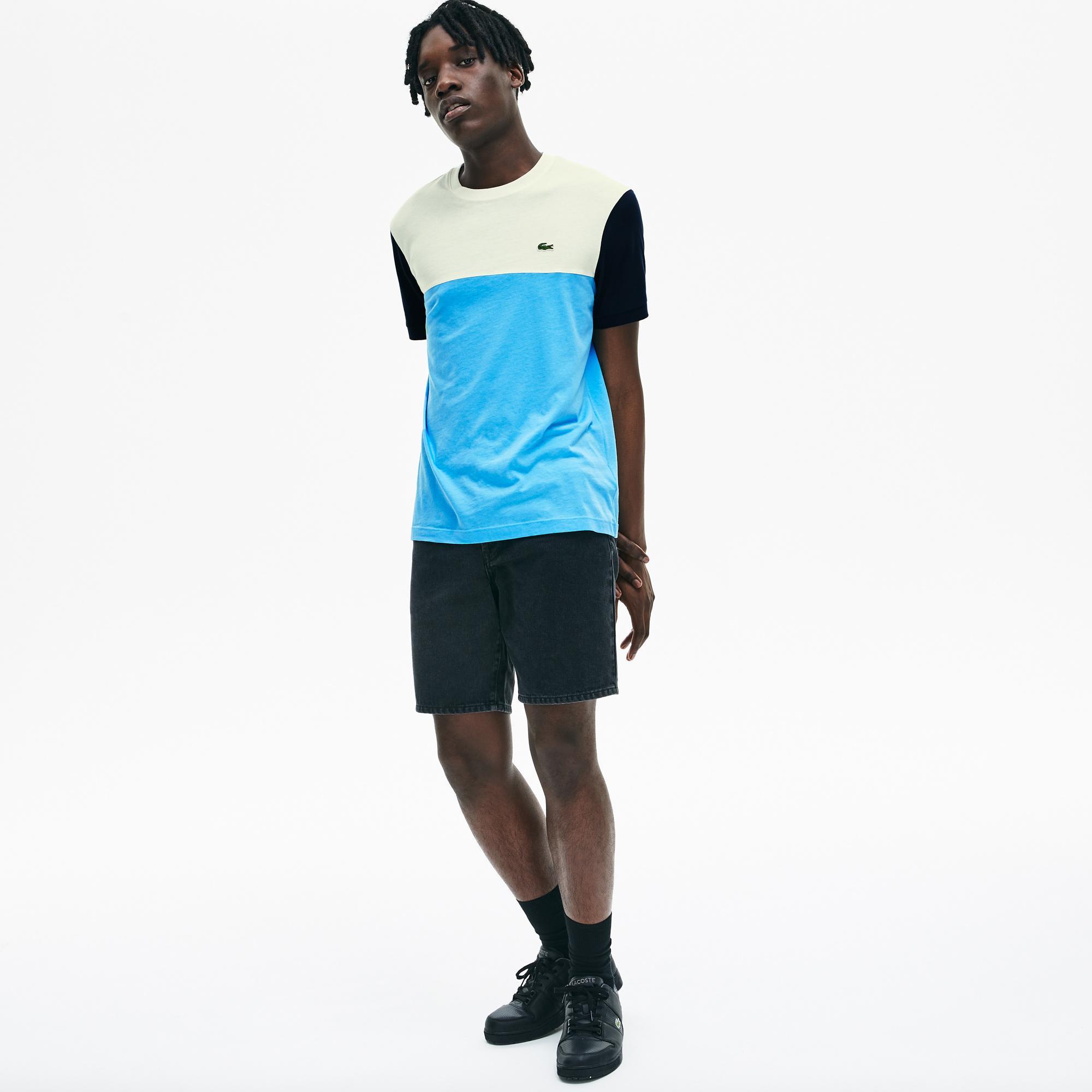 Lacoste Męski Bawełniany T-Shirt W Bloki Kolorystyczne Z Okrągłym Dekoltem