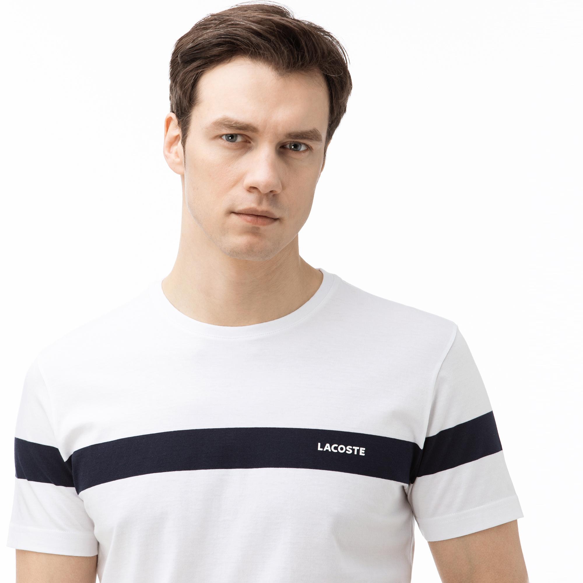 Lacoste Męski bawełniany T-shirt z okrągłym dekoltem w bloki kolorystyczne i paski