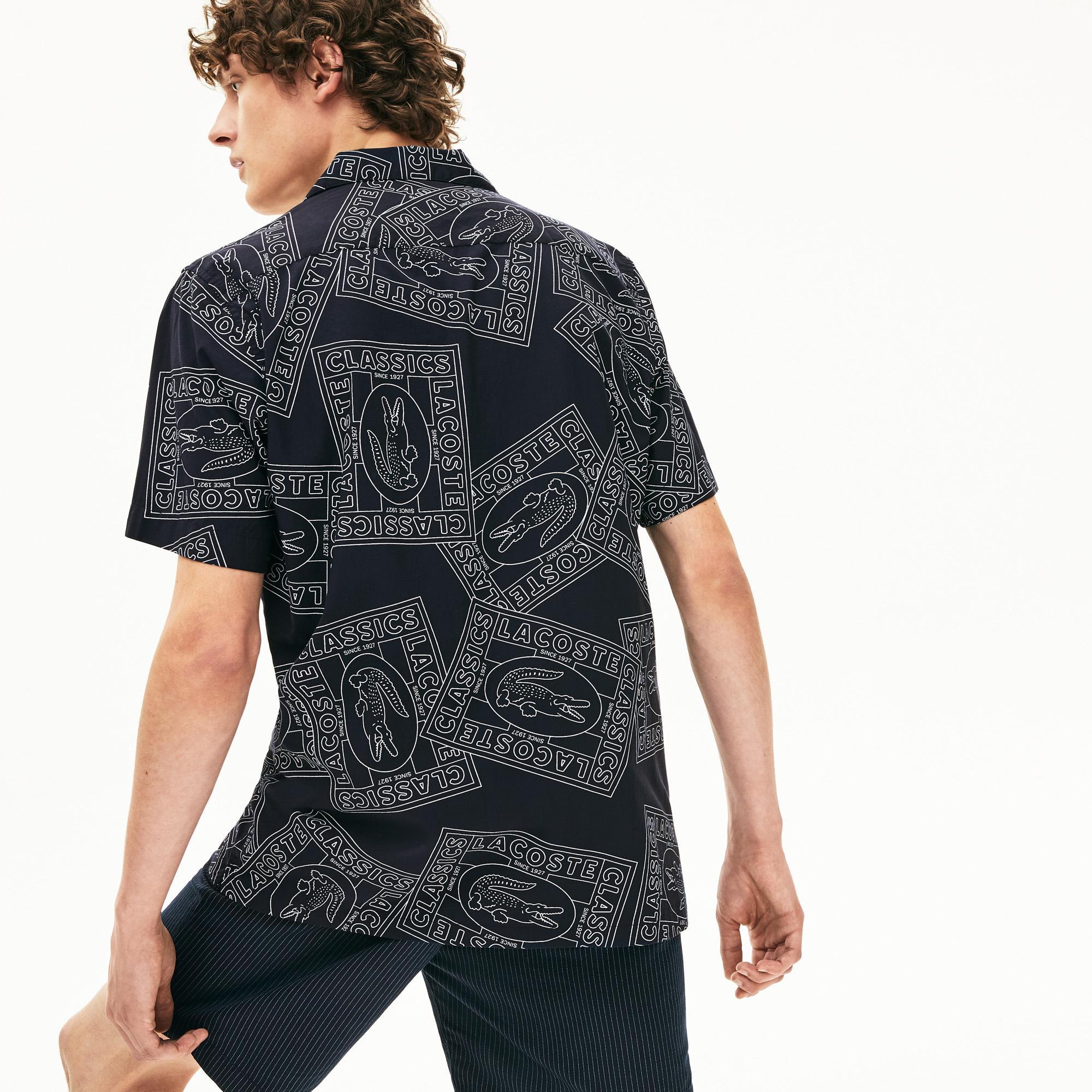 Lacoste Męska Koszula Popelinowa Z Hawajskim Nadrukiem