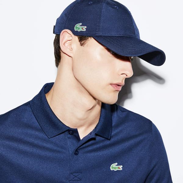 Lacoste Men's Sport Cap İn Solid Diamond Weave Taffeta