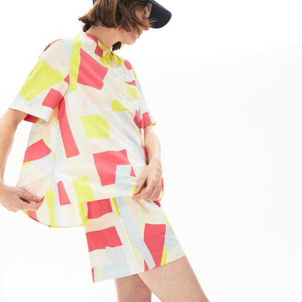 Lacoste Damska Kolorowa Elegancka Koszula Z Mieszanki Bawełnianej