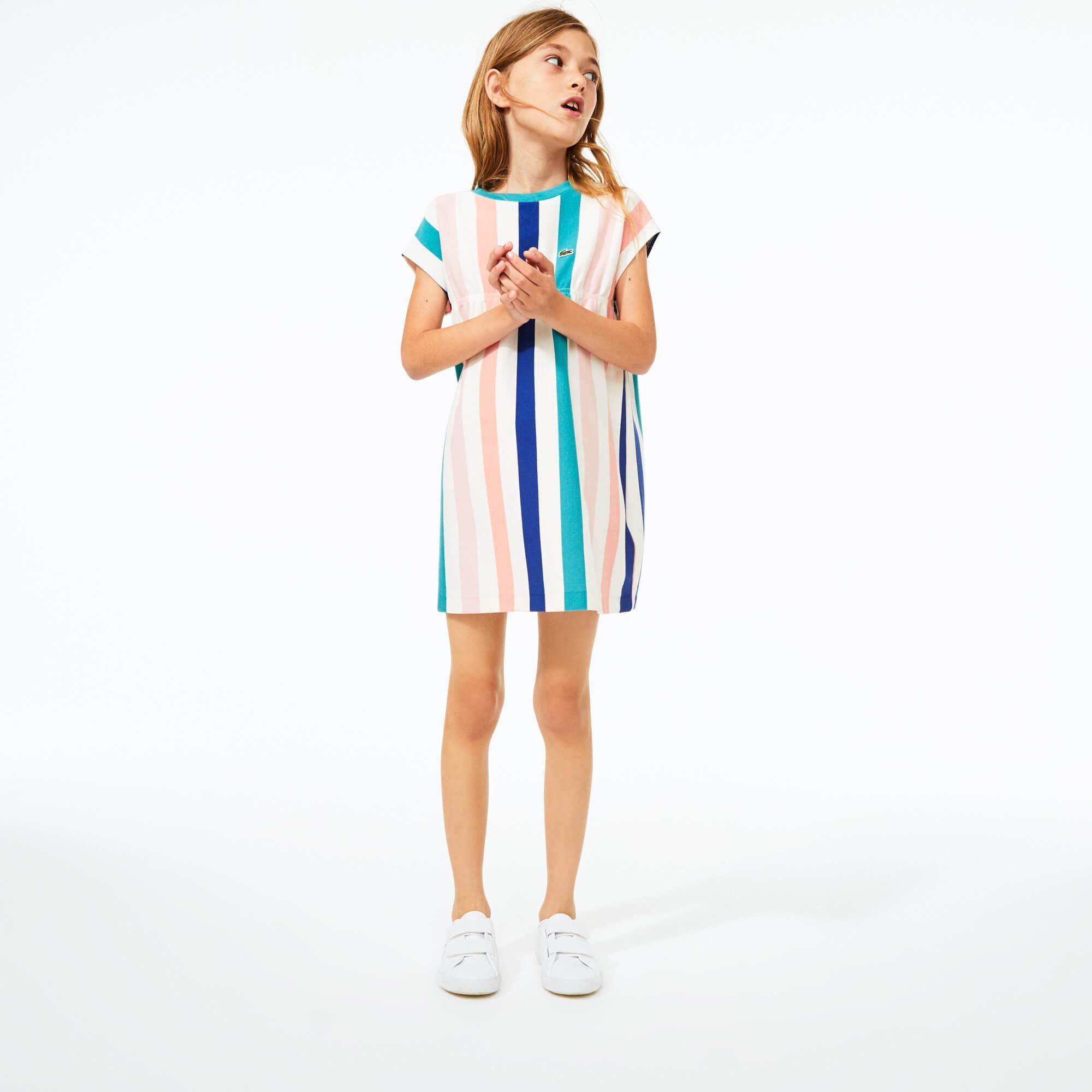 Lacoste Dziewczęca Sukienka W Paski Z Piki Bawełnianej