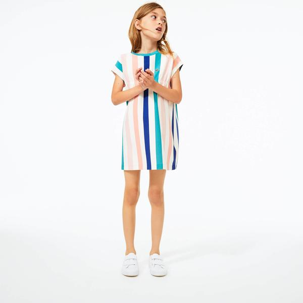 Lacoste Girls' Striped Print Cotton Piqué Dress