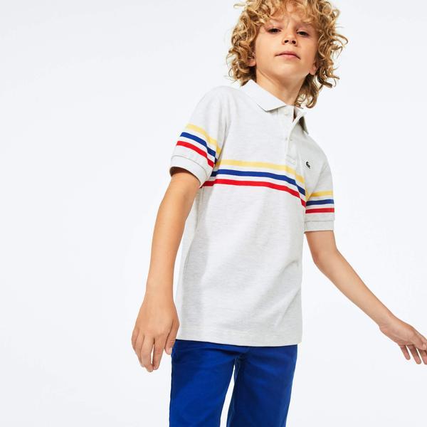 Lacoste Boy's Tricolour Striped Cotton Piqué Polo