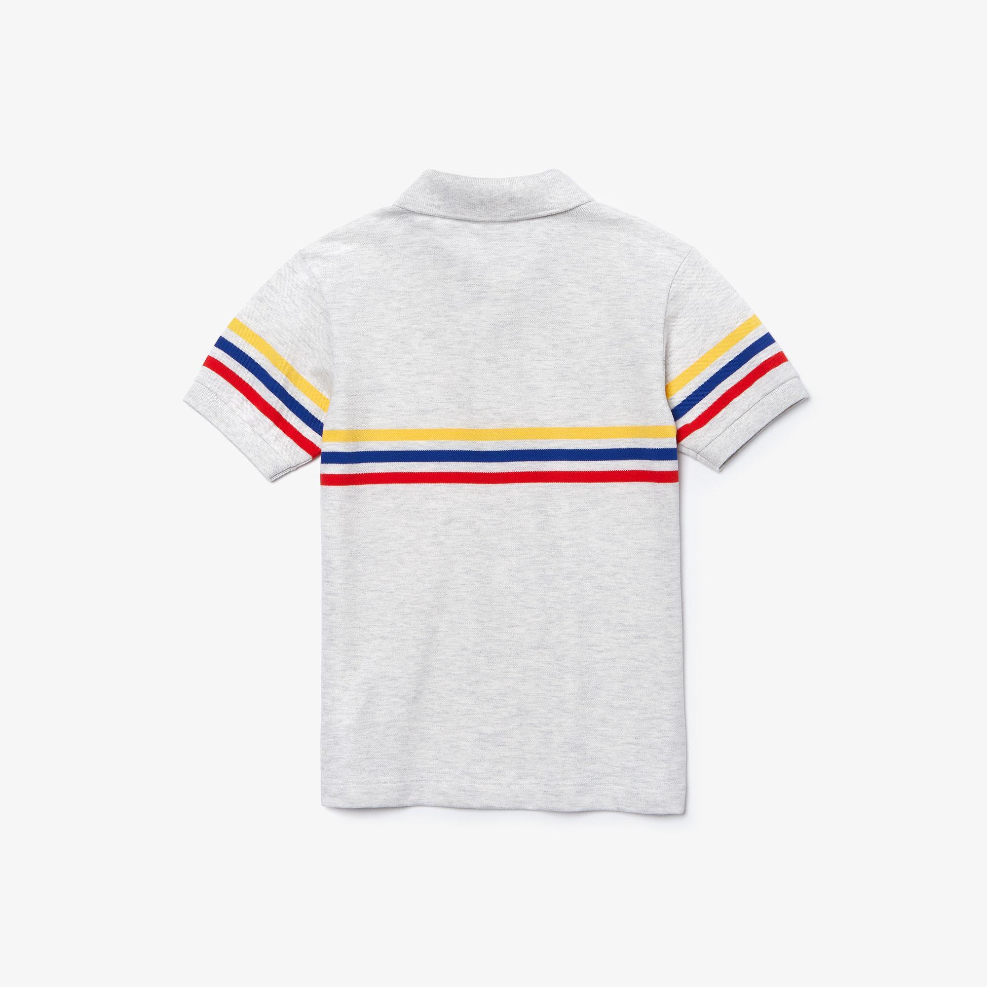 Lacoste Chłopięca Trójkolorowa Koszulka Polo W Paski Z Bawełnianej Piki