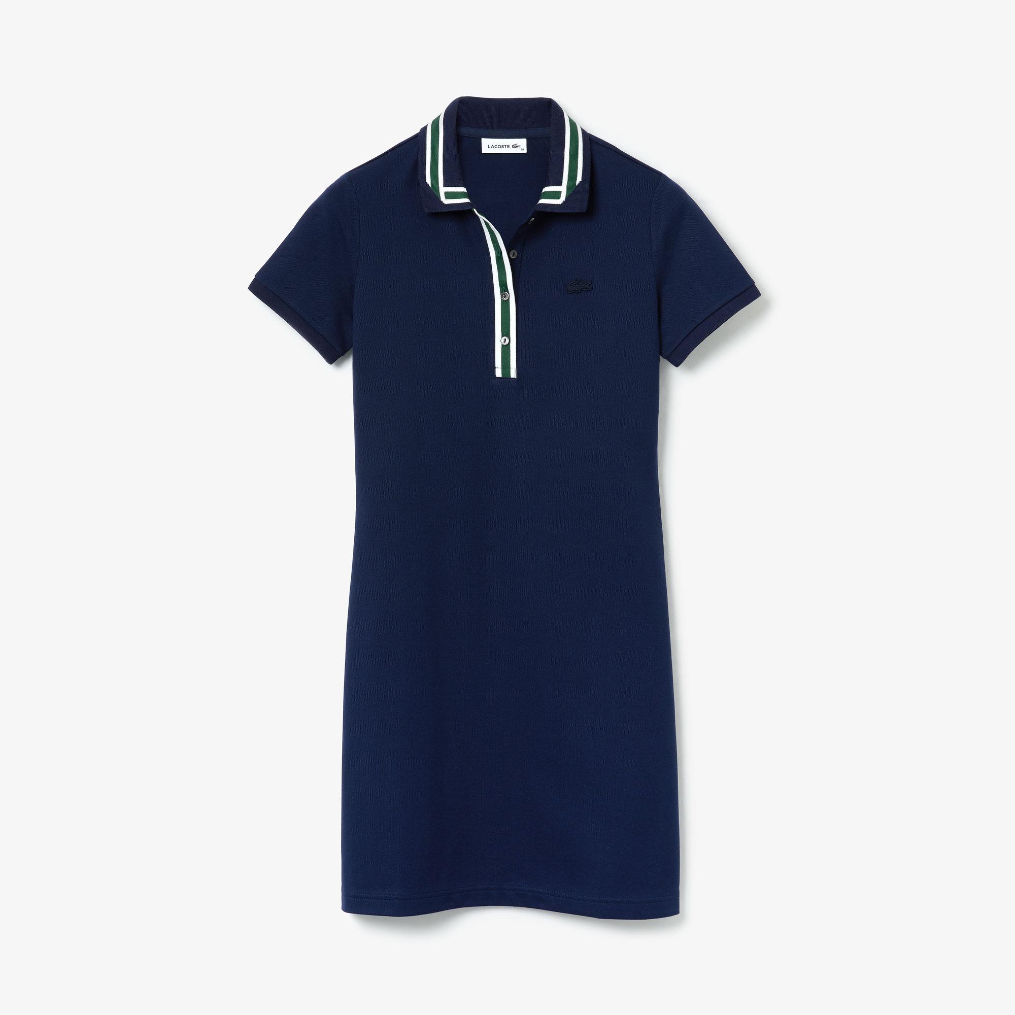 Lacoste Damska Kontrastowa Sukienka Polo Z Elastycznej Bawełny