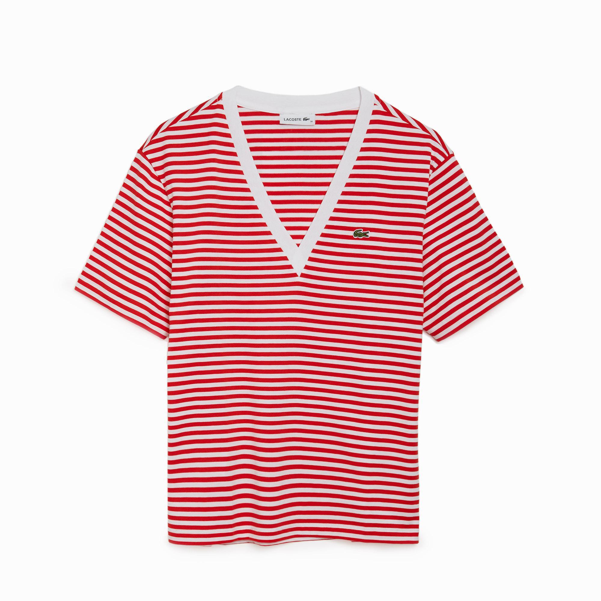 Lacoste Damska Bawełniany T-Shirt W Paski Z Dekoltem W Kształcie Litery V