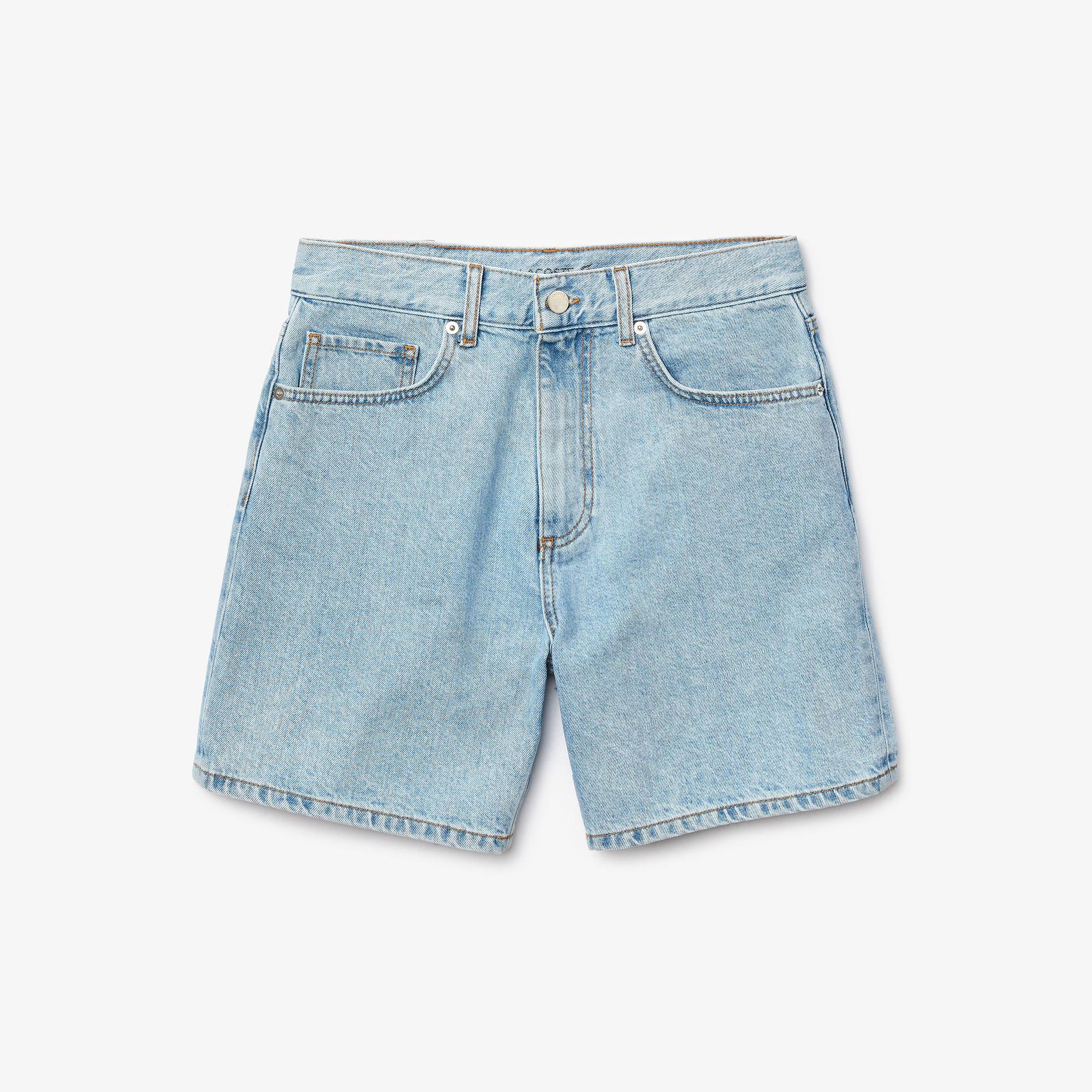 Lacoste Damskie Luźne Szorty Jeansowe Z Japońskiej Bawełny