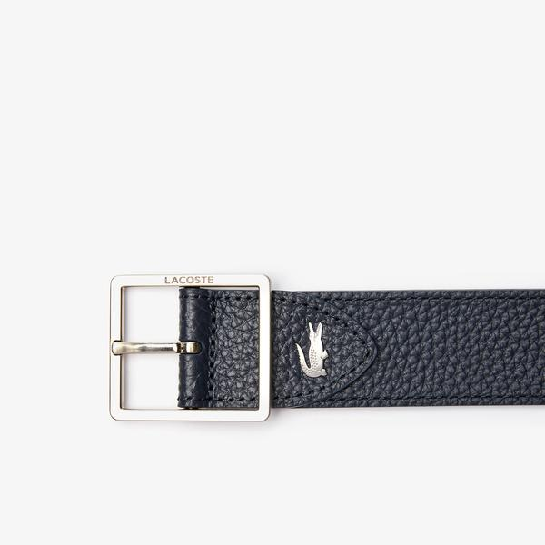 Lacoste Men's Engraved Buckle Reversible Grained Leather Belt