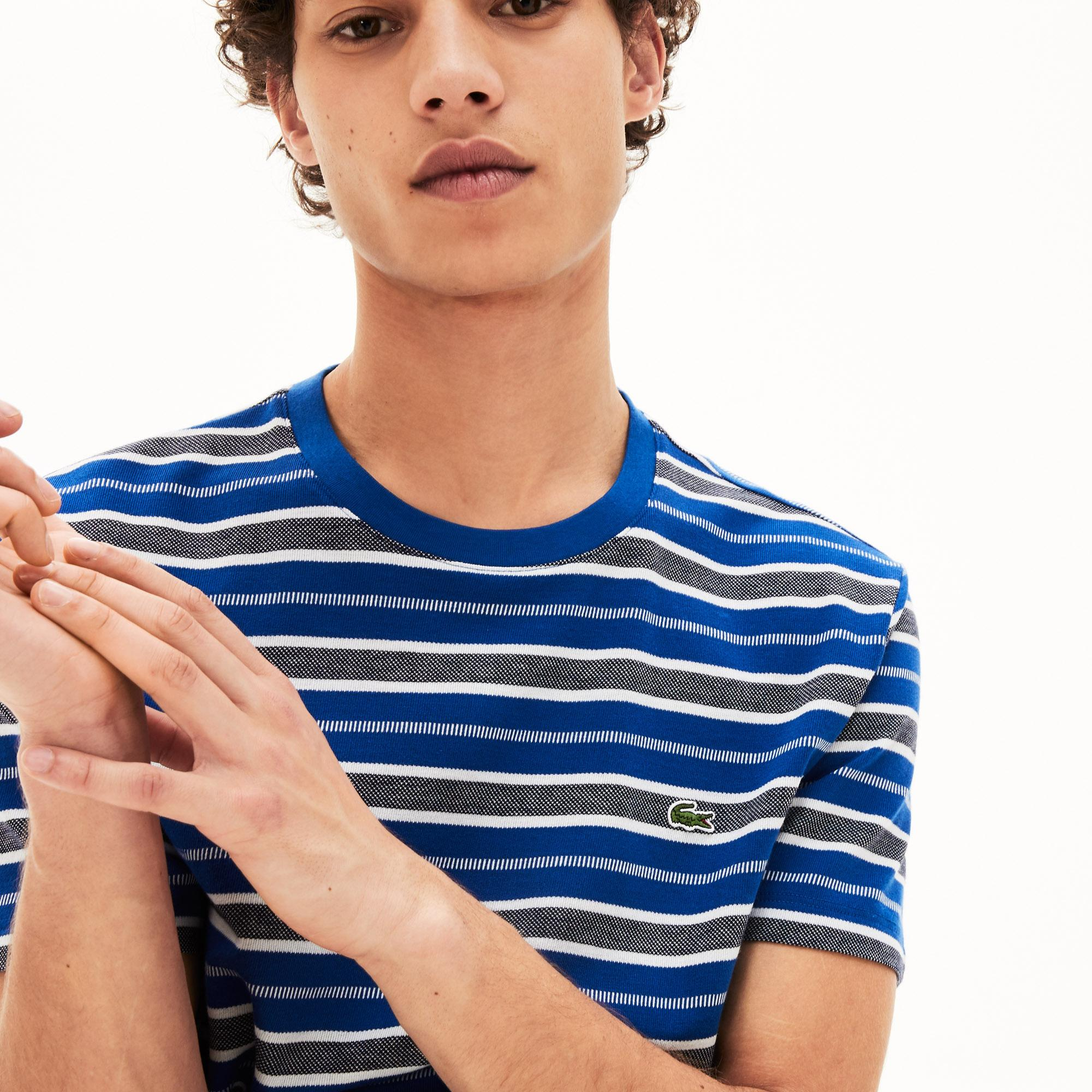 Lacoste Męski T-Shirt W Paski Z Okrągłym Dekoltem
