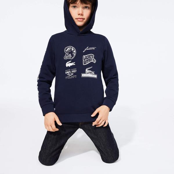 Lacoste Chłopięca Bluza Z Kapturem Z Polaru Z Klasycznym Nadrukiem