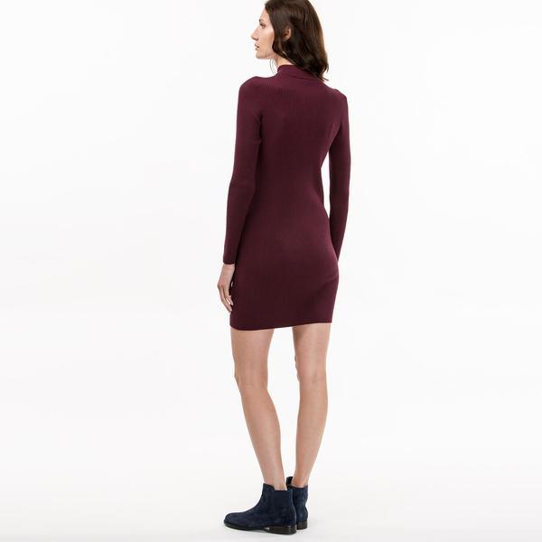 Lacoste Bordo Fermuarlı Kadın Elbise