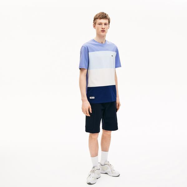 Lacoste Męski T-Shirt W Bloki Kolorystyczne Z Bawełnianej Piki Z Okrągłym Dekoltem