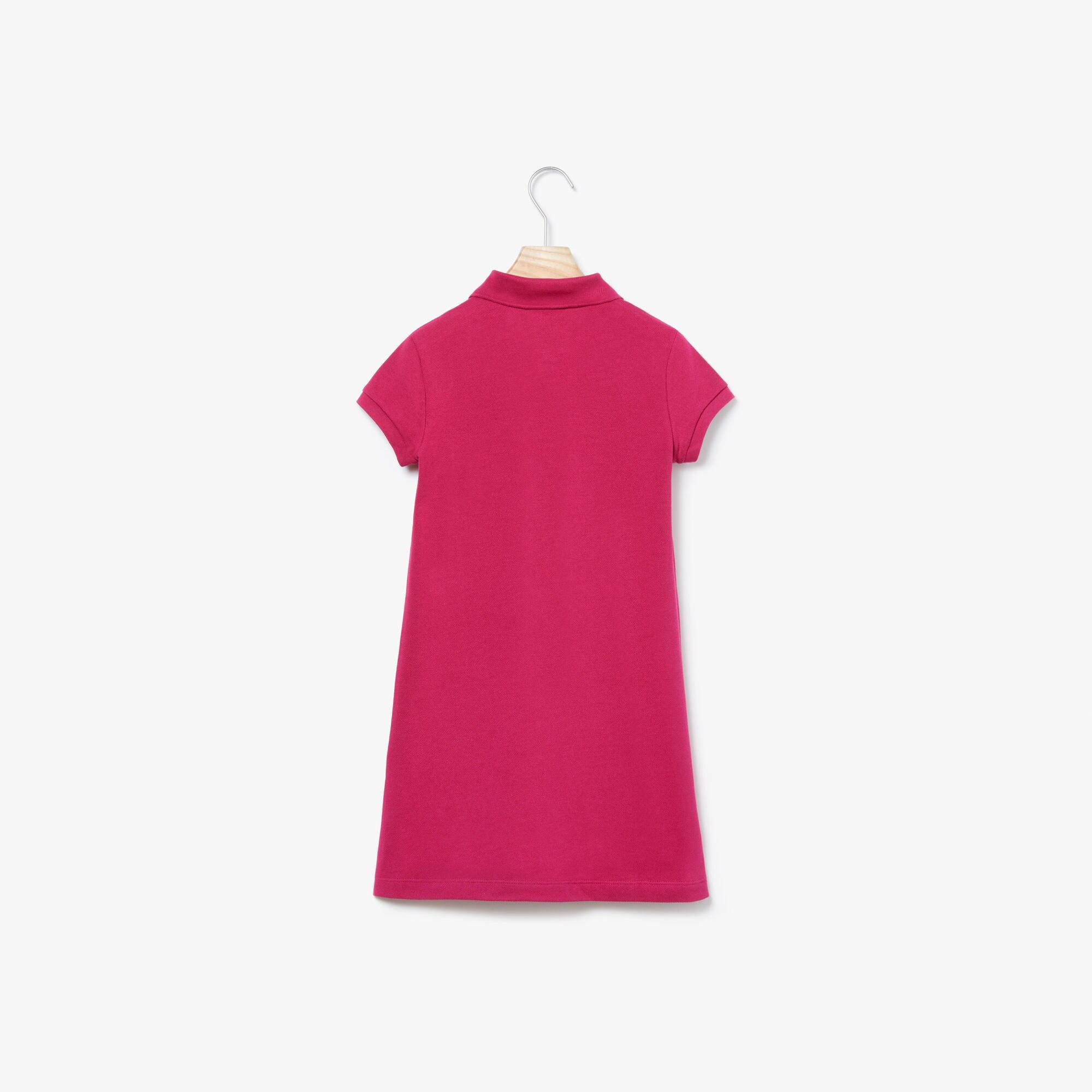 Lacoste Dziewczęca Rozkloszowana Sukienka Z Jednokolorowej Mini-Piki Bawełnianej