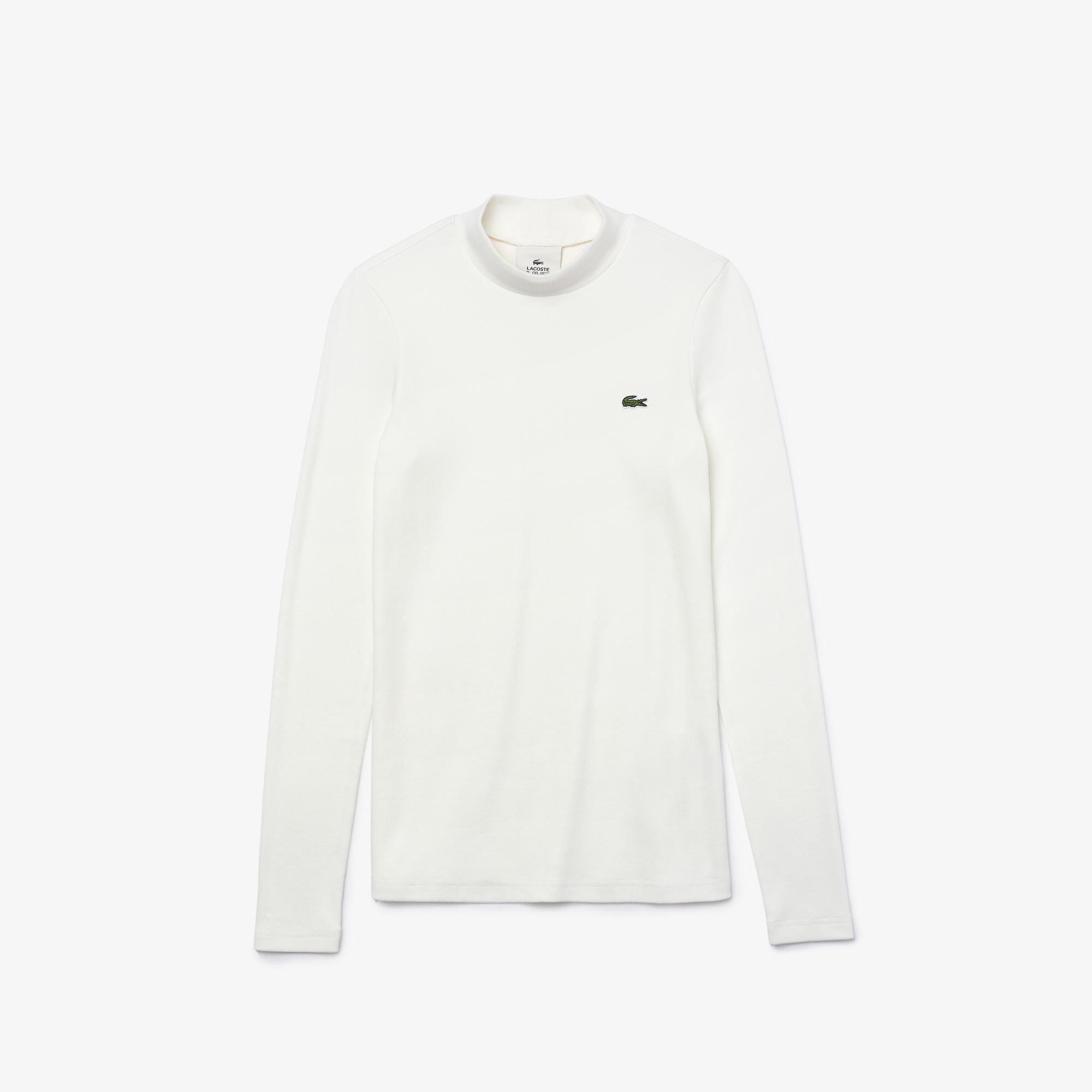 Lacoste Live Damski Lekki Prążkowany T-Shirt Z Bawełny