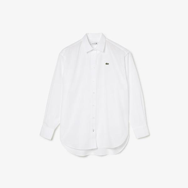 Lacoste Damska Prążkowana Koszula Z Popeliny Bawełnianej Oversize