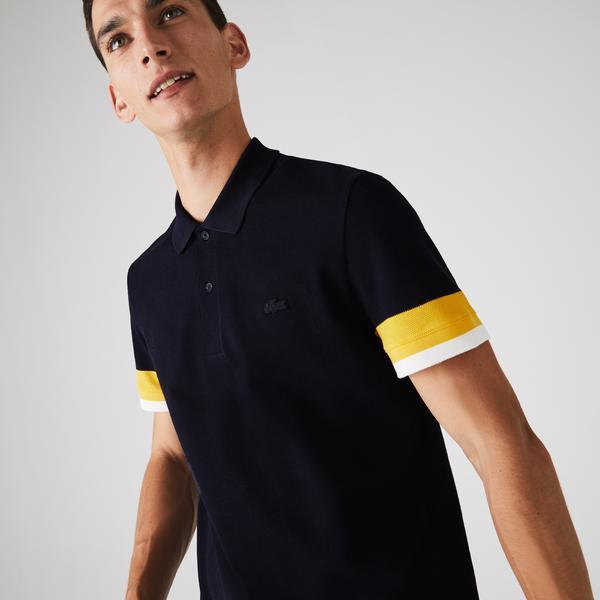 Lacoste Męska Teksturowana Koszulka Polo Z Piki Bawełnianej Regular Fit