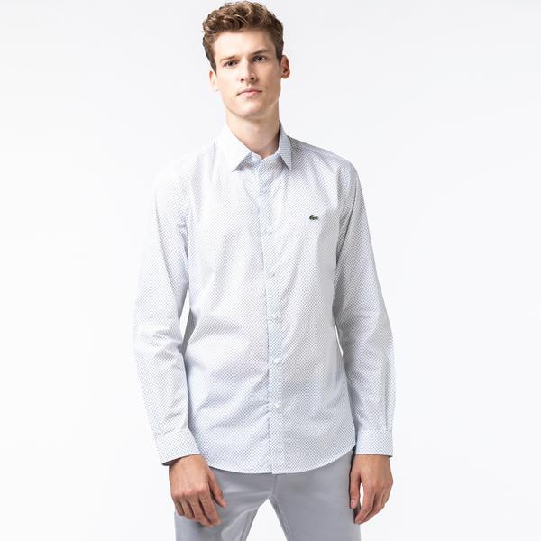 Lacoste Męska Koszula Z Popeliny Bawełnianej Z Mikronadrukiem Slim Fit