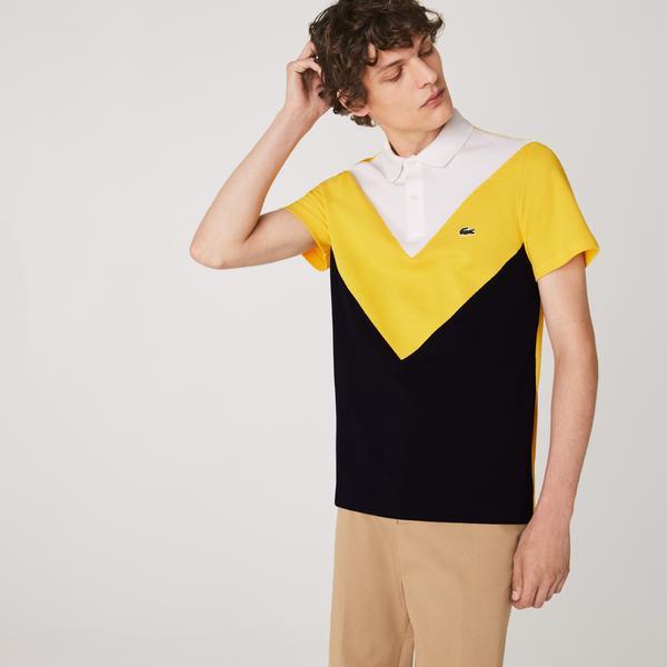 Lacoste Męska Geometryczna Koszulka Polo W Bloki Kolorystyczne Z Piki Regular Fit