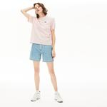 Lacoste Damski Bawełniany T-Shirt Wysokiej Jakości Z Okrągłym Dekoltem