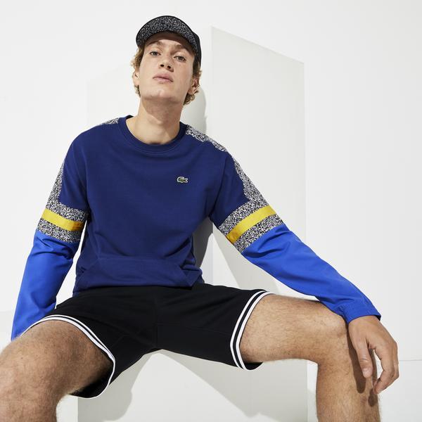 Lacoste Męska Sportowa Bluza Nadrukiem Z Podwójnego Materiału