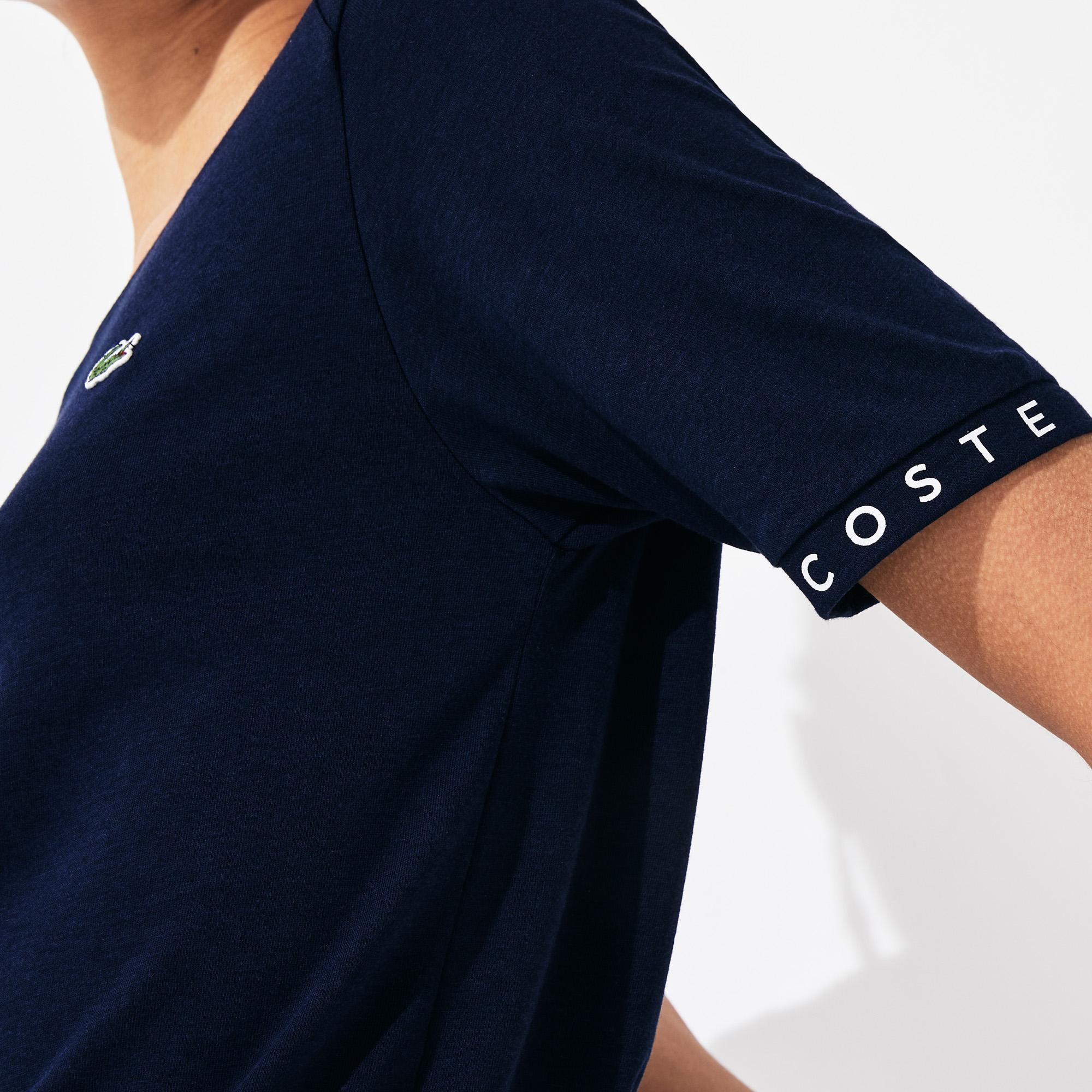 Lacoste Damski Sportowy T-Shirt Do Gry W Tenisa Z Lejącego Materiału Z Rękawami W Napisy