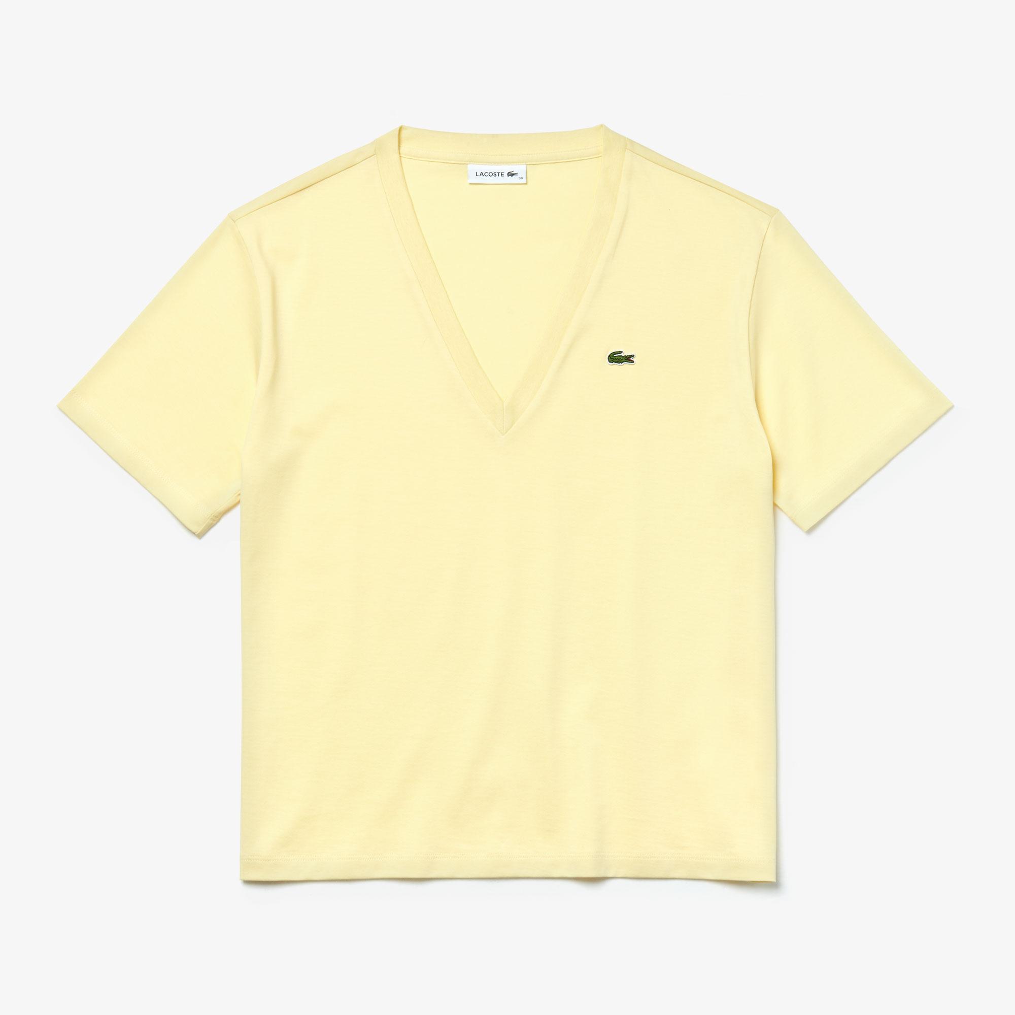 Lacoste Damski Bawełniany T-Shirt Wysokiej Jakości Z Dekoltem W Kształcie Litery