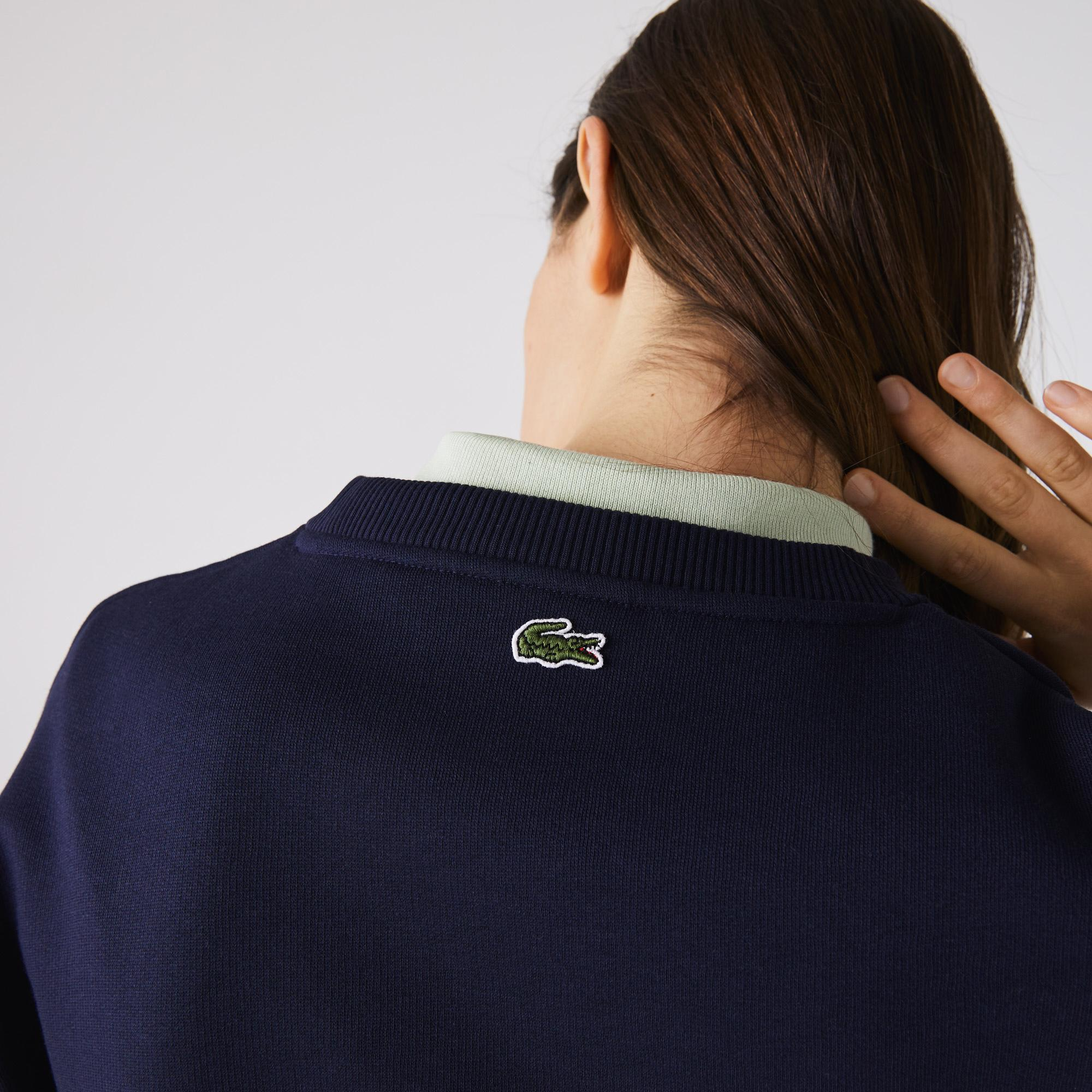 Lacoste Damska Haftowana  Polarowa Bluza Z Okrągłym Wycięciem Pod Szyją