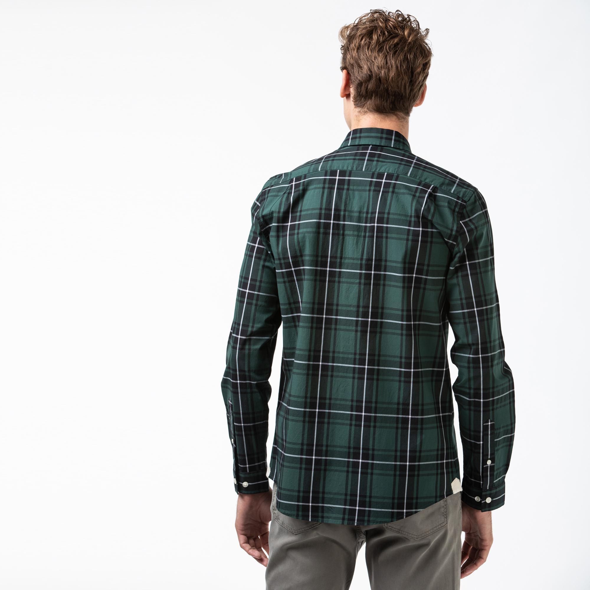 Lacoste Męska Rozciągliwa Koszula W Kratę Z Popeliny Bawełnianej Regular Fit