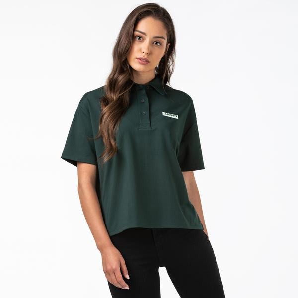 Lacoste Women's LIVE Loose Fit Badge Flowing Knit Polo