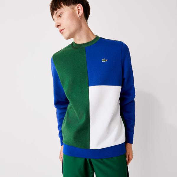 Lacoste Men's SPORT Two-Ply Colorblock Cotton Blend Sweatshirt