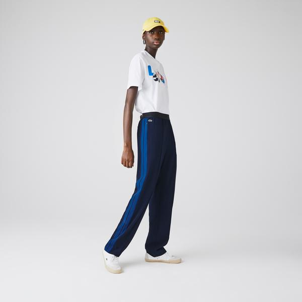 Lacoste Damskie Rozszerzane Spodnie Z Tkaniny Diagonalnej