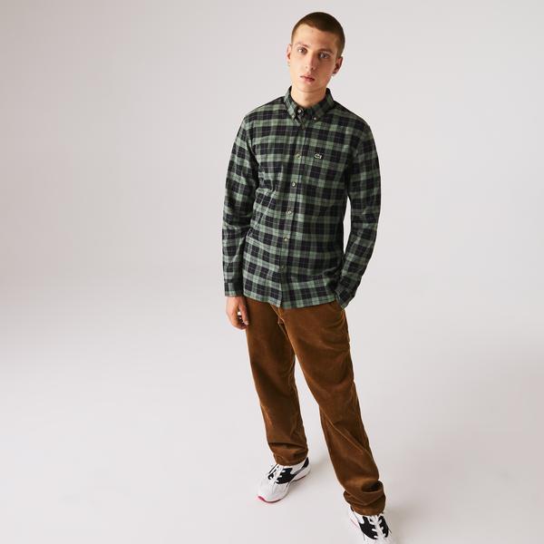 Lacoste Męska Koszula W Kratę Z Bawełnianej Tkaniny Diagonalnej Regular Fit