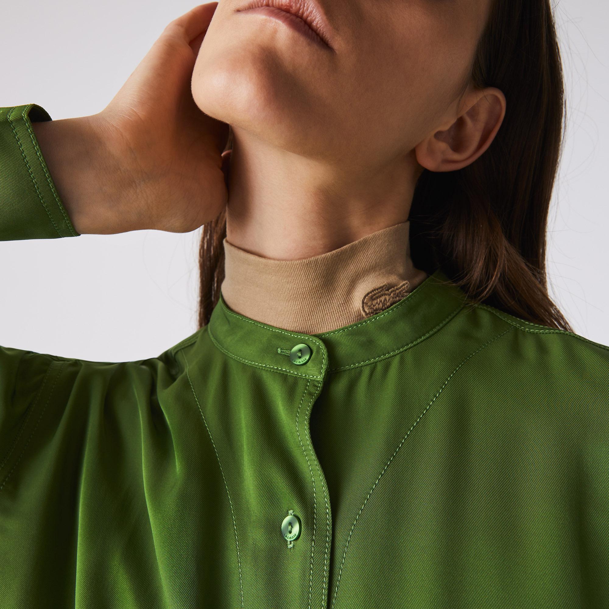 Lacoste Relaxed Fit Damska Zwiewna Koszula Z Regulowaną Talią I Kołnierzem Mao