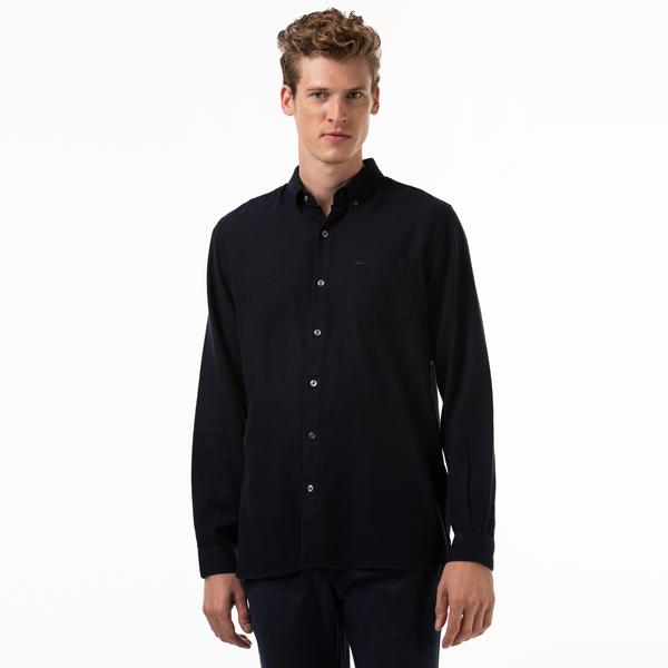 Lacoste Men's Regular Fit Wool And Cotton Shirt