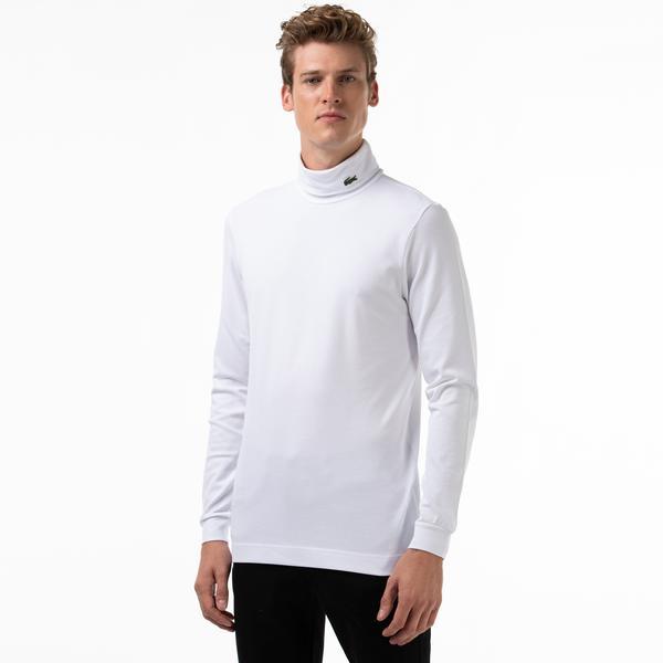 Lacoste T-shirt Męski Z Golfem i Streczem z Bawełny Organicznej z Piki
