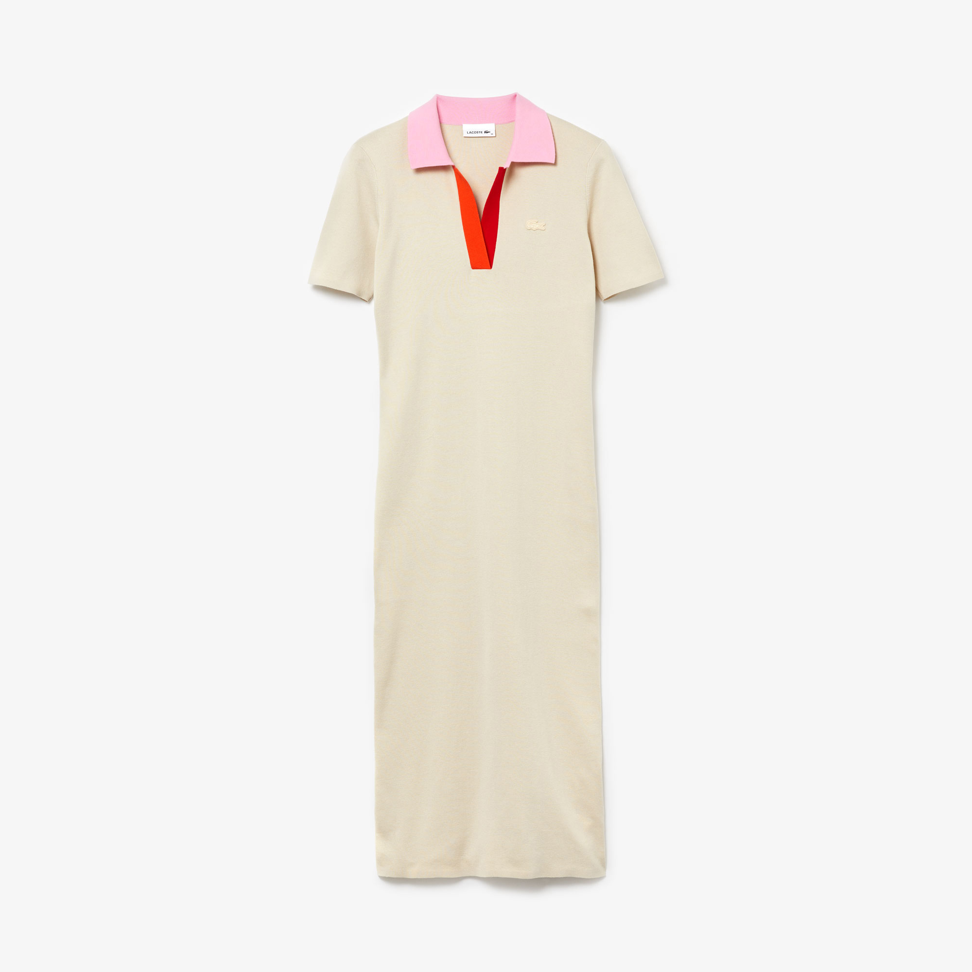 Lacoste Damska Długa Dwukolorowa Sukienka Sweterkowa z Dzianiny Bawełnianej z Kołnierzem Polo